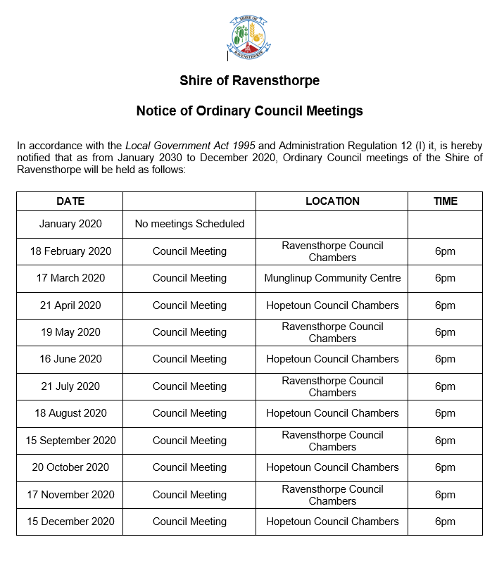 Council Meeting Dates 2020