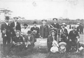 Community Brass Band in Ravensthorpe, circa 1905
