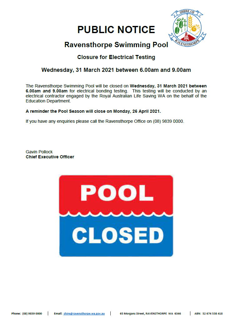 Swimming Pool Closure - 31 March 2021