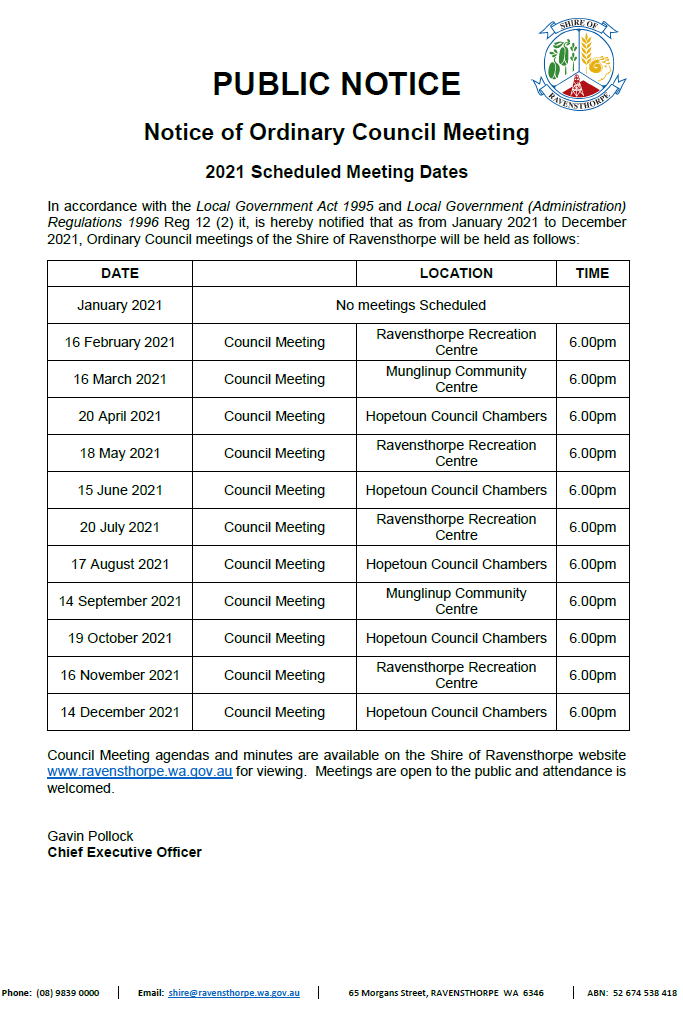 Public Notice - 2021 OCM Dates