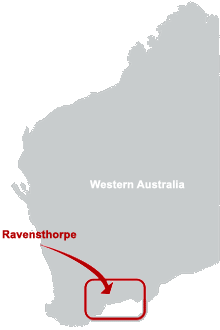 Map of Ravensthorpe, WA