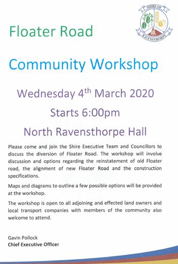 Floater Road Community Workshop Wednesday 4 March 2020 Starting 6pm