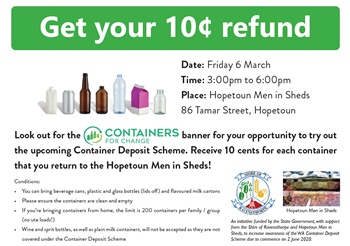 Container Deposit Scheme Promo, earn a little extra cash and help the planet!!