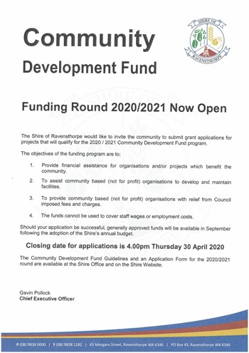 Community Development Funding 2020/21 Now Open